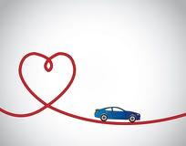 Hart getraceerde weg & het blauwe autoliefde drijven Stock Foto