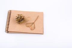 Hart gevormd blad, denneappel en een notitieboekje  Stock Afbeeldingen