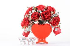 Hart gevormd boeket van rode rozen stock afbeelding