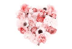 Hart gevormd die bloemboeket op wit wordt geïsoleerd Royalty-vrije Stock Foto