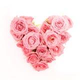 Hart gevormd die boeket van rozen op witte achtergrond worden geïsoleerd Hoogste mening royalty-vrije stock foto's