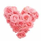 Hart gevormd die boeket van rozen op witte achtergrond worden geïsoleerd Hoogste mening stock foto