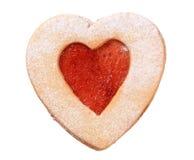 Hart gevormd koekje Linzer royalty-vrije stock afbeelding