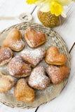 Hart Gevormde Donuts Royalty-vrije Stock Foto's