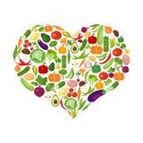 Hart gevormde geplaatste groenten vector illustratie