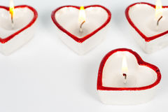 Hart gevormde kaarsen Stock Foto's