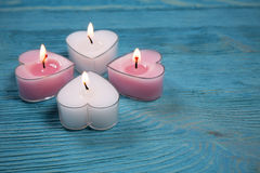 Hart gevormde kaarsen Stock Afbeeldingen