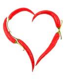 Hart gevormde Spaanse peper Stock Foto's