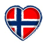 Hart gevormde vlag van Noorwegen royalty-vrije illustratie