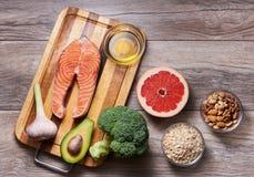 Hart gezond voedsel Vlak leg stock fotografie