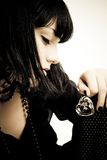 Hart of glass. Young woman portrait with a hart of glass in hand stock images