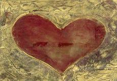 Hart in Goud Stock Afbeeldingen