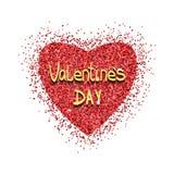 Hart gouden vector, Valentijnskaartendag, liefde royalty-vrije illustratie