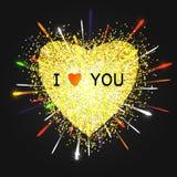 Hart gouden vector, Valentijnskaartendag, liefde stock illustratie