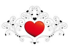 Hart, harten, rood, krausens, achtergrond Stock Afbeeldingen
