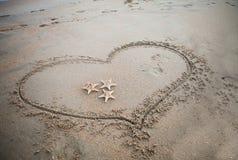 Hart in het zand Royalty-vrije Stock Fotografie