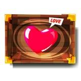 Hart in houten doos vond het liefdeconcept - illustratie Royalty-vrije Stock Foto's