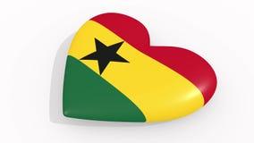 Hart in kleuren en symbolen van Ghana, lijn vector illustratie