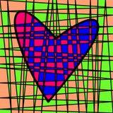 Hart kleurrijk betegeld lapwerk Gekleurd perceel stock afbeelding