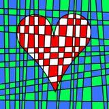 Hart kleurrijk betegeld lapwerk Het gekleurde perceel weven Stock Afbeeldingen