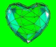Hart in lage poly geïsoleerde die stijl groene kleur wordt gemaakt 3d vector illustratie