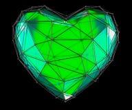 Hart in lage polystijl groene die kleur wordt op zwarte achtergrond wordt geïsoleerd gemaakt die 3d Stock Foto