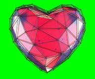 Hart in lage polystijl rode die kleur wordt op groene achtergrond wordt geïsoleerd gemaakt die 3d Stock Afbeelding
