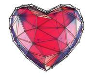 Hart in lage polystijl rode die kleur wordt op witte achtergrond wordt geïsoleerd gemaakt die 3d Stock Afbeelding