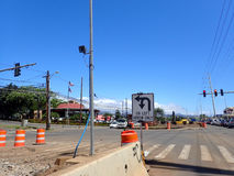 HART Light Rail concrete guideway begins construction in road ce. HONOLULU - MARCH 18: HART Light Rail concrete guideway begins construction in road center in royalty free stock images
