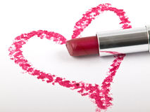Hart and lipstick. Hart pictured by red lipstick for valentine day royalty free stock photography