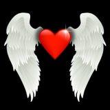 Hart met engelenvleugels Stock Foto's