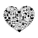 Hart met Geschiktheid en Gezondheidspictogrammen Royalty-vrije Stock Afbeeldingen