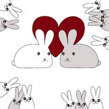 Hart met het ontwerp van de konijnkaart voor Valentijnskaartendag royalty-vrije stock foto's