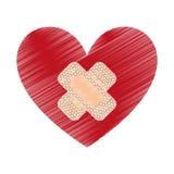 hart met het pictogram van de behandelingsband stock illustratie