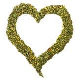 Hart met kruidentheebladen wordt geschikt dat Royalty-vrije Stock Fotografie