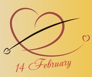 Hart met lijnen voor prentbriefkaaren en Valentijnskaarten Royalty-vrije Stock Afbeelding