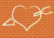 Hart met op een bakstenen muur. Royalty-vrije Stock Foto's