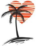 Hart met palm Royalty-vrije Stock Afbeelding