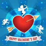 Hart met pijl en silhouet van cupido's voor Valentijnskaartendag Royalty-vrije Stock Fotografie