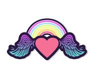 Hart met Regenboog en Vleugels royalty-vrije illustratie