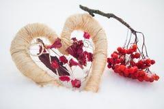 Hart met rode bessen op de sneeuw Stock Fotografie