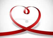 Hart met rood lint Royalty-vrije Stock Foto