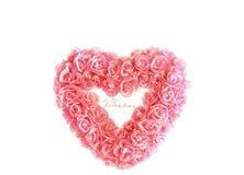 Hart met uiterst kleine roze rozen royalty-vrije stock fotografie