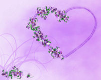 Hart met violette bloemen, illustratie Stock Foto