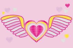 Hart met vleugels Stock Foto