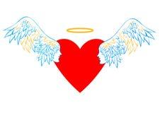 Hart met vleugels en een halo Royalty-vrije Stock Fotografie