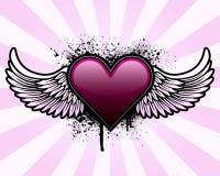 Hart met vleugels en grunge achtergrond vector illustratie