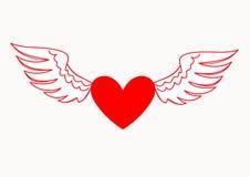 Hart met vleugels Engel van liefde Stock Afbeelding