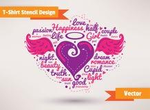 Hart met vleugels Het Ontwerpvector van de t-shirtstencil Stock Afbeeldingen