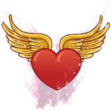 Hart met vleugels vectorillustratie Royalty-vrije Stock Foto